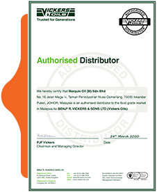 Vickers Oil Authorised Distributor Certificate